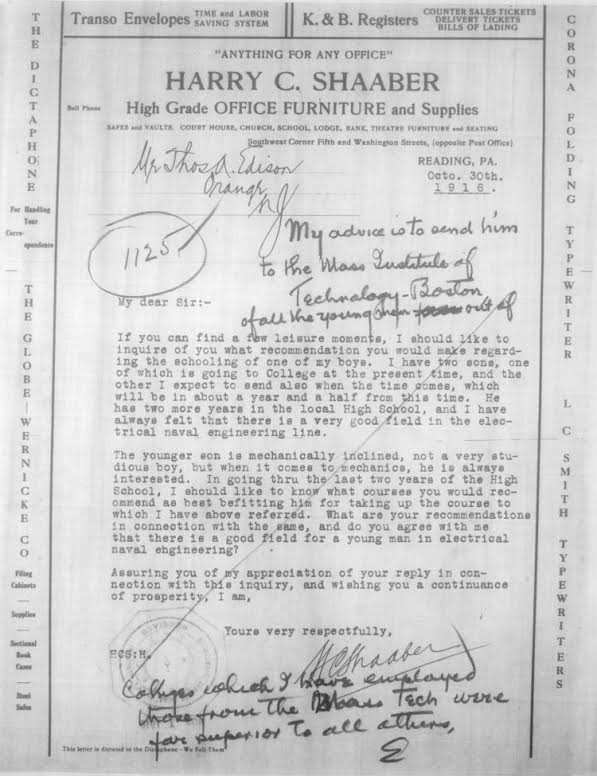 Letter to Edison with his recommendation of MIT