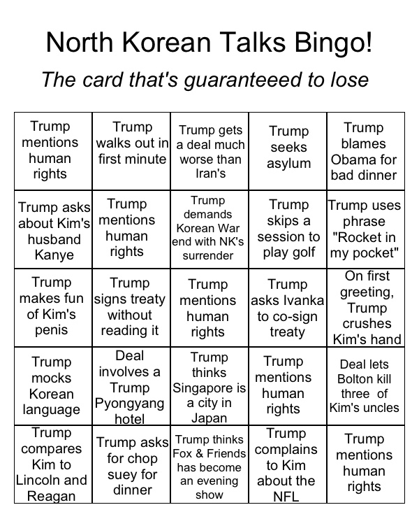 north korean talks bingo card