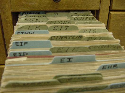 Card catalog opened to Einstein entry