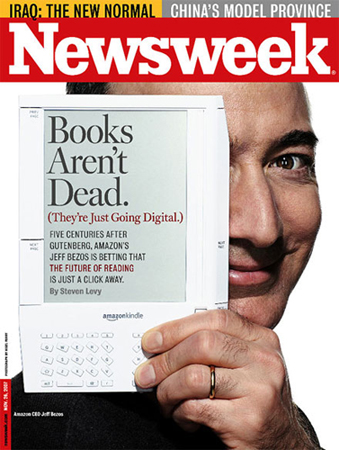 Kindle 1 - Bezos holding it on cover of Newsweek
