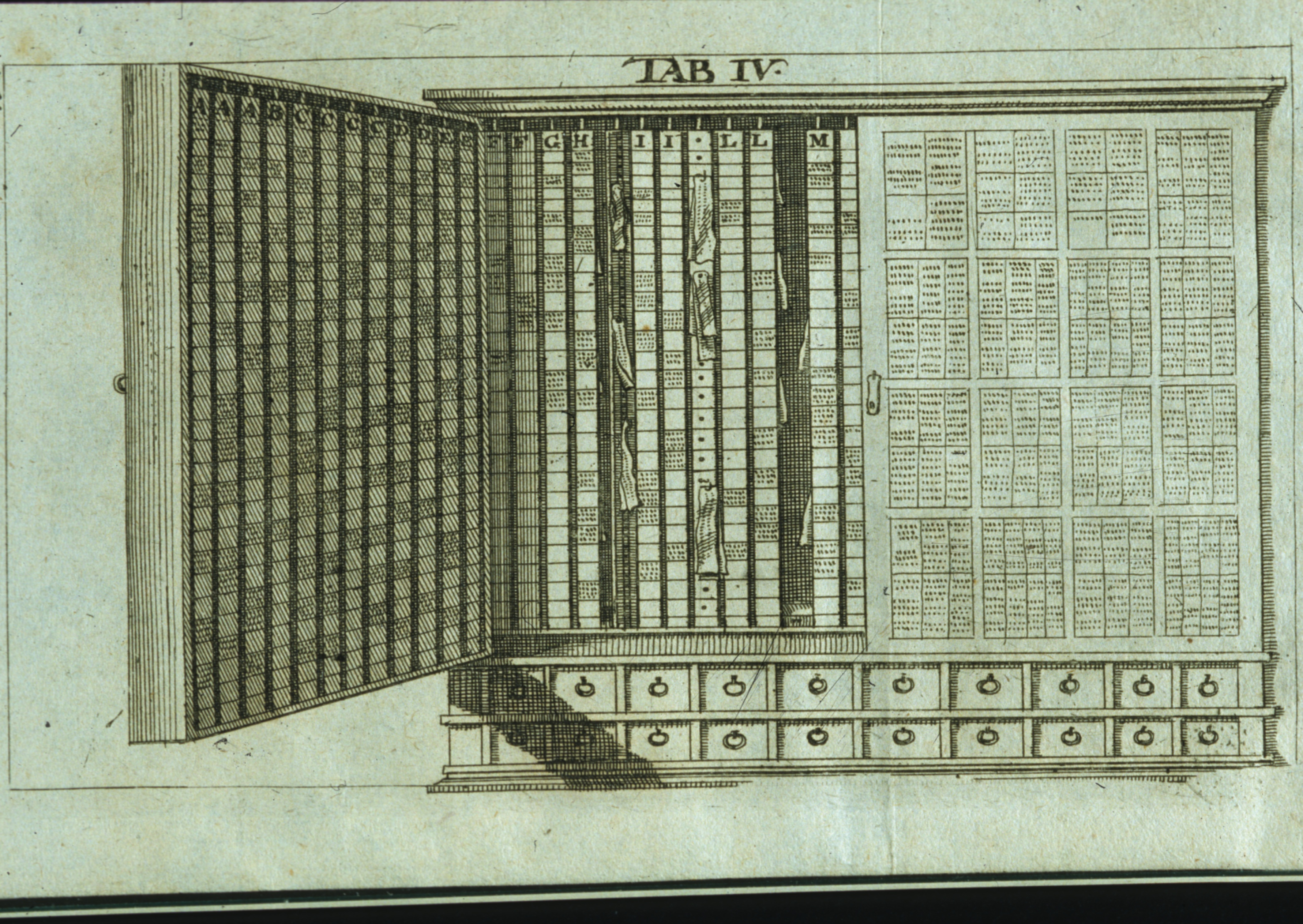 1689 cabinet for arranging notes