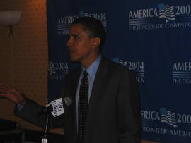Obama addressing bloggers at 2004 DNC