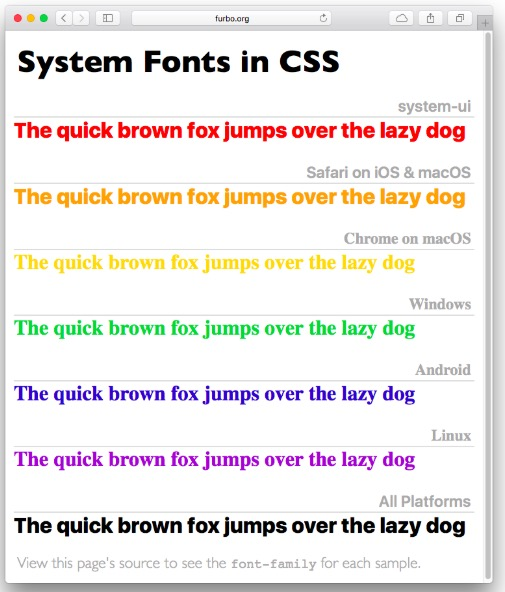 chart of system fonts