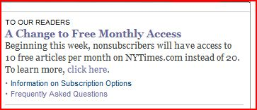 Times cuts down on free access
