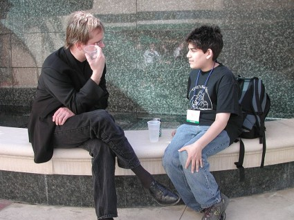 Young Aaron (14-15) with Larry Lessig