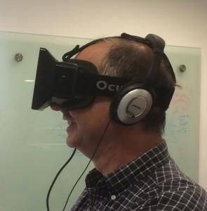 wearing an Oculus Rift