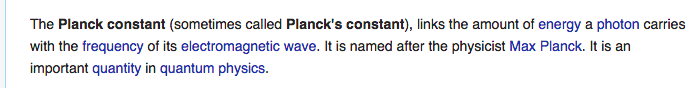Simple Wikipedia's Planck Constant explanation