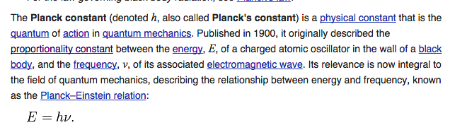 Wikipedia first paragraph about Planck's Constant