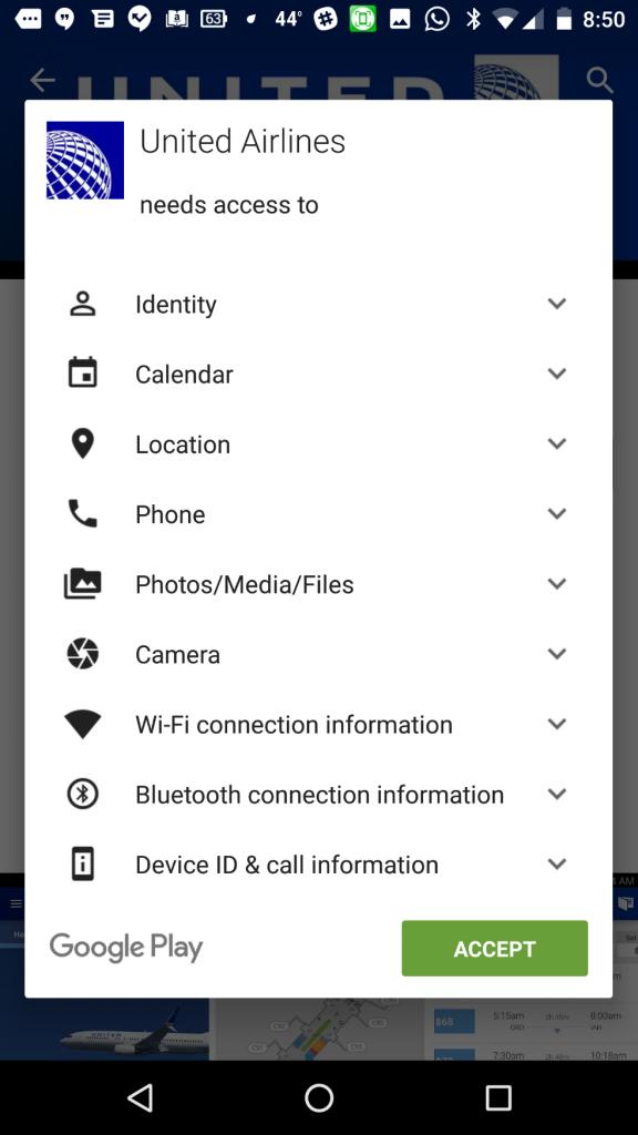 United app's permissions